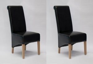 Homestyle GB Richmond Dining Chair (Pair) - Black Bonded Leather