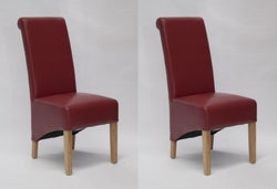 Homestyle GB Richmond Dining Chair (Pair) - Red Bonded Leather