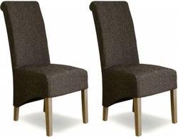 Homestyle GB Richmond Dining Chair (Pair) - Tweed Dark Fabric