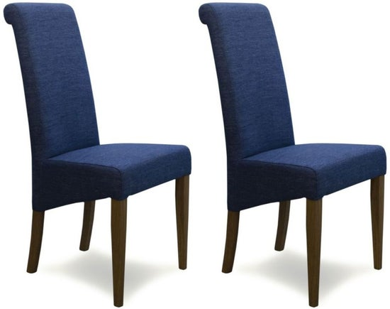 Homestyle GB Italia Dining Chair (Pair) - Denim Blue Fabric
