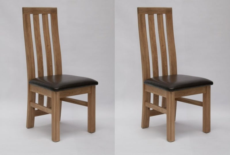 Homestyle GB Paris Dining Chair (Pair) - Oak and Dark Brown Leather