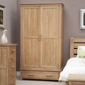 Homestyle GB Opus Oak 2 Door 1 Drawer Wardrobe
