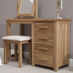 Homestyle GB Opus Oak Single Pedestal Dressing Table and Stool