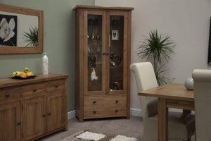 Homestyle GB Rustic Oak Glass Display Cabinet