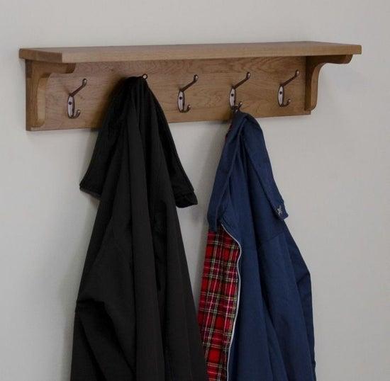 Homestyle GB Rustic Oak Coat Rack Holder