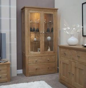Homestyle GB Torino Oak Glass Display Cabinet