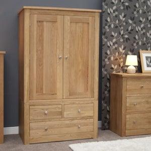 Homestyle GB Torino Oak 2 Door 3 Drawer Wardrobe