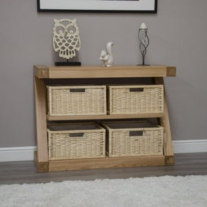 Homestyle GB Z Designer Oak Basket Console Table