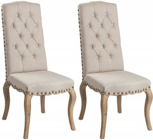 Asbury Reclaimed Pine Studded Natural Fabric Dining Chair with Bronze Nails (Pair)
