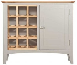 Lowell Oak and Grey Painted Wine Cabinet