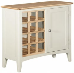 Lowell Oak and White Painted Wine Cabinet