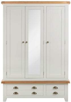 Lundy Oak and Grey Painted 3 Door 2 Drawer Wardrobe