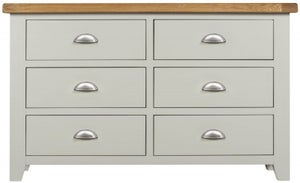 Lundy Oak and Grey Painted 6 Drawer Chest