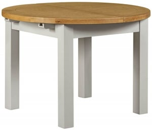 Lundy Oak and Grey Painted Round 110cm-150cm Extending Dining Table
