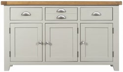Lundy Oak and Grey Painted 3 Door 3 Drawer Sideboard