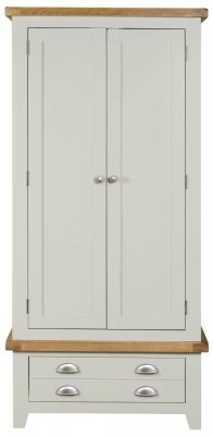 Lundy Oak and Grey Painted 2 Door 1 Drawer Wardrobe