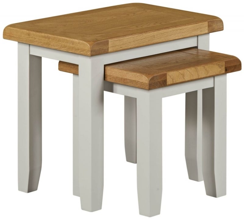 Lundy Oak and Grey Painted Nest of 2 Tables