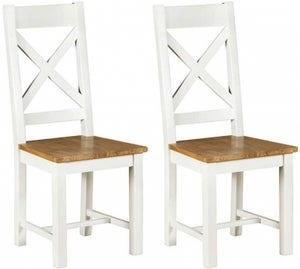 Lundy White Painted Cross Back Dining Chair (Pair)
