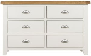 Lundy Oak and White 6 Drawer Chest