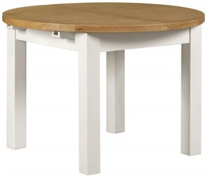Lundy Oak and White Round 110cm-150cm Extending Dining Table