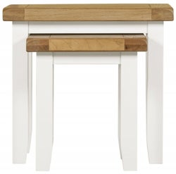 Lundy Oak and White Nest of 2 Tables