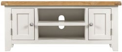 Lundy Oak and White 2 Door Large TV Unit