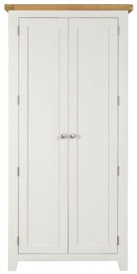 Lundy Oak and White 2 Door Double Wardrobe