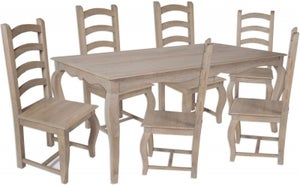 Calais Grey Washed Large Dining Table and 6 High Back Chairs