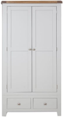 Perth 2 Door 2 Drawer Wardrobe - Oak and French Grey Painted