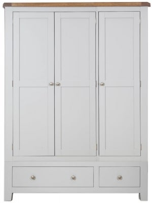 Perth 3 Door 2 Drawer Wardrobe - Oak and French Grey Painted