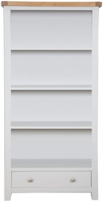 Perth Wide Bookcase - Oak and French Grey Painted