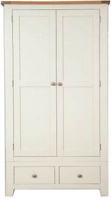 Perth 2 Door 2 Drawer Wardrobe - Oak and Ivory Painted