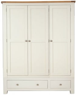 Perth 3 Door 2 Drawer Wardrobe - Oak and Ivory Painted