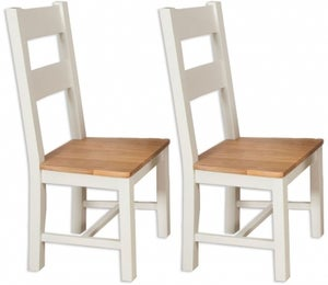 Perth Dining Chair (Pair) - Oak and Ivory Painted
