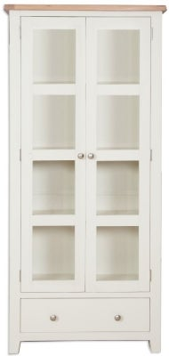 Perth Display Cabinet - Oak and Ivory Painted