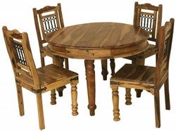 Thacket Sheesham Round Dining Table and 4 Chairs