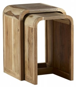 Indian Hub Aspen Iron and Wood Nest of 2 Tables