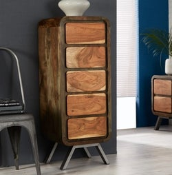Indian Hub Aspen Iron and Wood 5 Drawer Chest