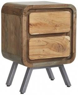 Indian Hub Aspen Wood and Metal Lamp Table