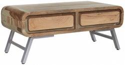 Indian Hub Aspen Wood and Metal Storage Coffee Table