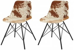 Indian Hub Baltic Live Edge Cowhide Leather Dining Chair (Pair)