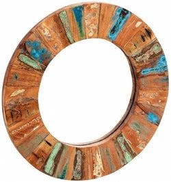 Indian Hub Coastal Reclaimed Wood Round Mirror - 85cm x 85cm