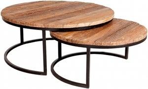 Indian Hub Reclaimed Railway Sleeper Wood and Metal Round Coffee Tables (Set Of 2)