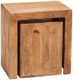 Indian Hub Toko Light Mango Cubed Nest of Tables