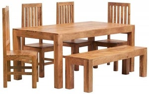 Indian Hub Toko Light Mango Large Dining Table with 4 Slatted Back Chairs and Bench