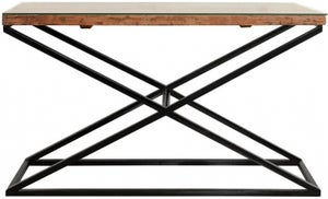 Indus Valley Phoenix Industrial Glass Top Console Table - Reclaimed Sleeper Wood and Iron