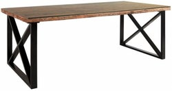 Indus Valley Phoenix Industrial Glass Top Dining Table - Reclaimed Sleeper Wood and Iron
