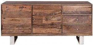 Indus Valley Railway Sleeper Industrial Sideboard - Reclaimed Wood and Stainless Steel