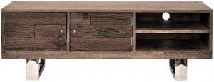Indus Valley Railway Sleeper Industrial TV Cabinet - Reclaimed Wood and Stainless Steel