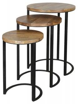 Jaipur Ravi Mango Wood and Iron Nest of 3 Table